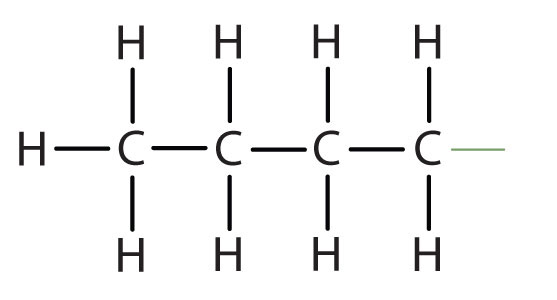 Structural formula of butyl.