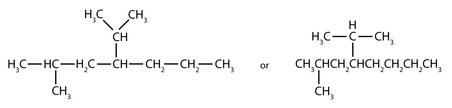 Condensed formula of 2-methyl, 4-isopropyl-heptane.