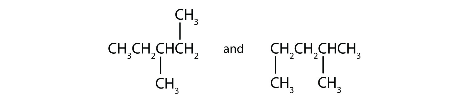 Condensed formula of 1,2 dimethyl-butane and 1,3 dimethyl-butane.