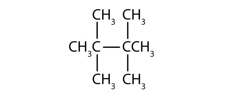 Condensed formula of 2,2,3,3-tetramethylbutane.