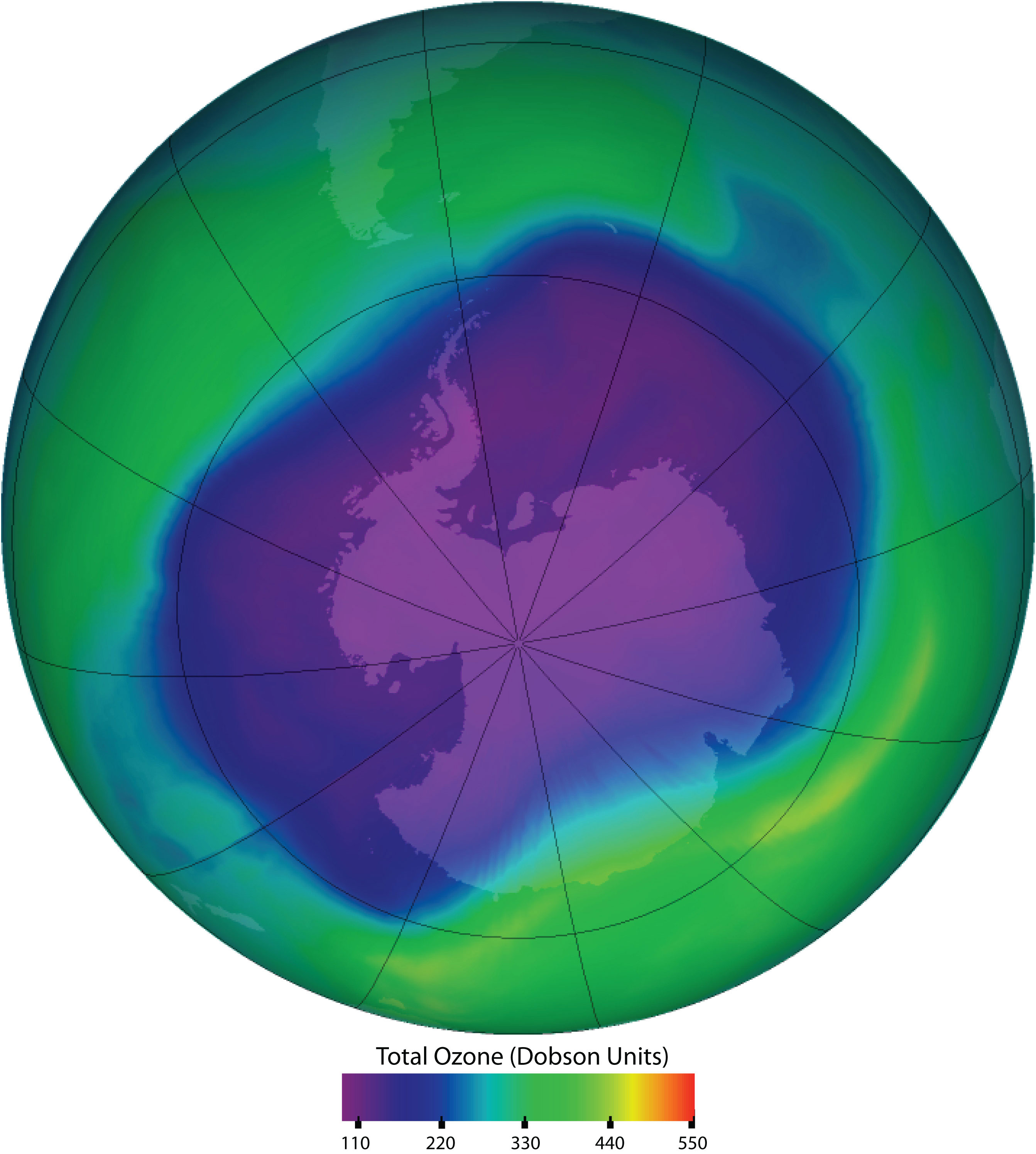 This NASA picture indicates atmospheric Ozone depletion as a consequence of human greenhouse gas production.