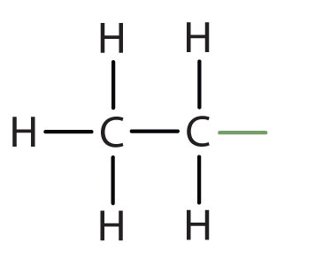 Structural formula of radical ethyl.
