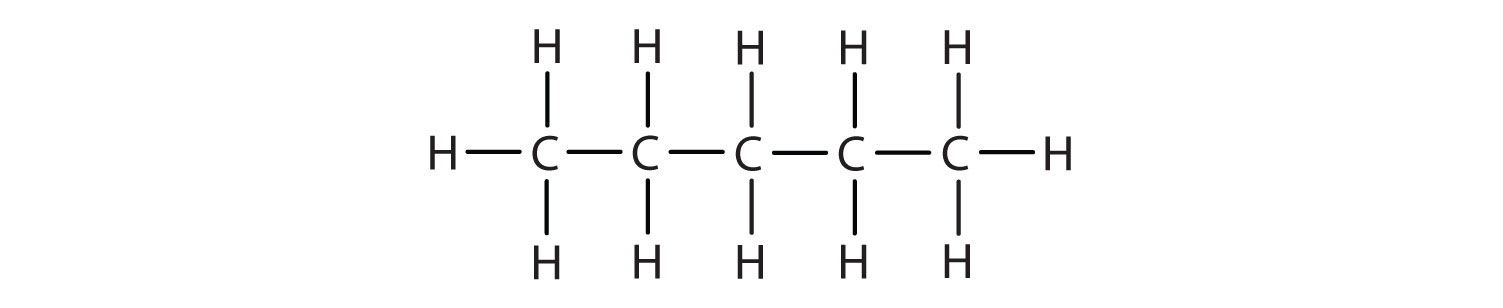 Structural formula of Pentane.
