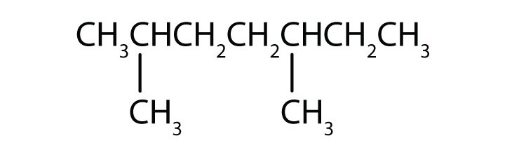 Condensed formula of 2,5-dimethylheptane.