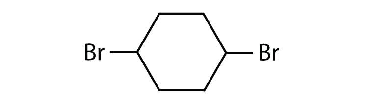 Line-angle formula of 1,4-DiBromo-Chloro-cyclohexane.