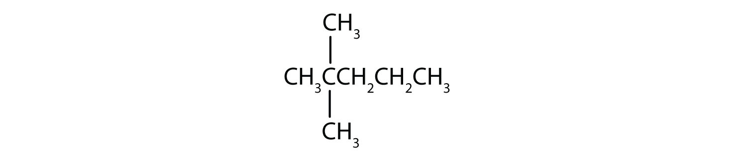 Condensed formula of 2,2-Dimethyl-pentane.