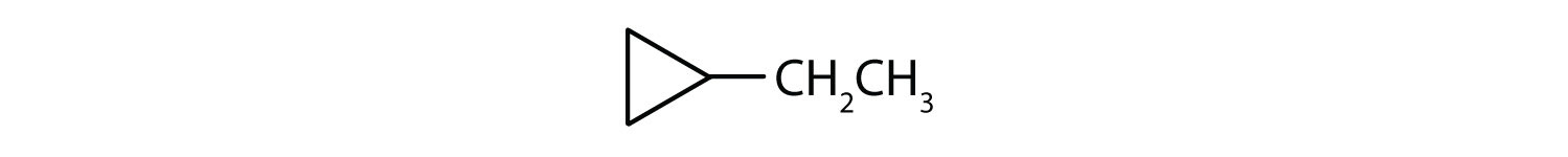 Line-angle formula of Ethyl-cyclopropane.