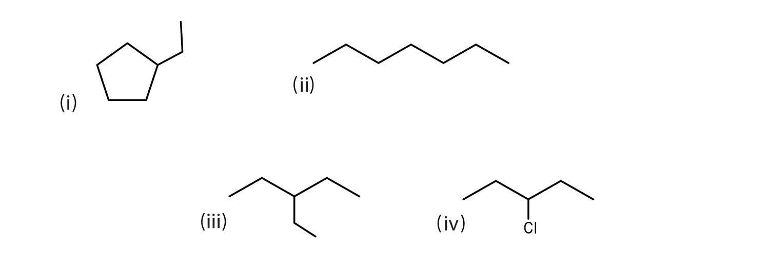 Line-angle formula of (i) Ethyl-cyclopentane, (ii) pentane, (iii) 2-ethylpentane and (iv) 3-Chloropentane.