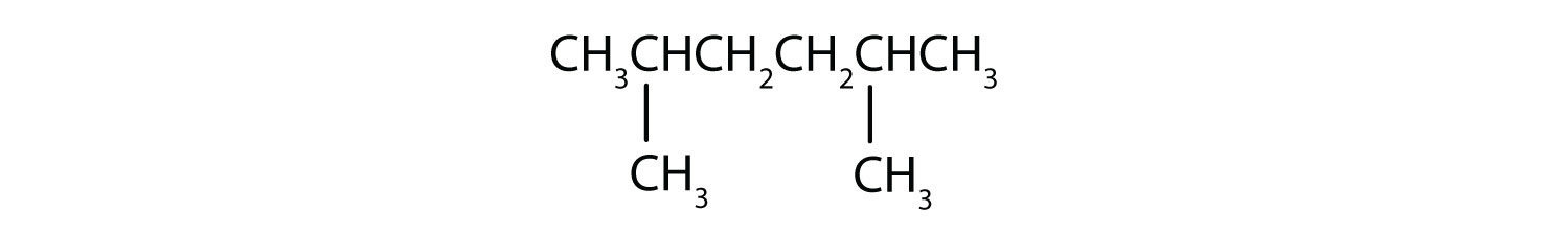 Condensed formula of 2,5-dimethyl-hexane.