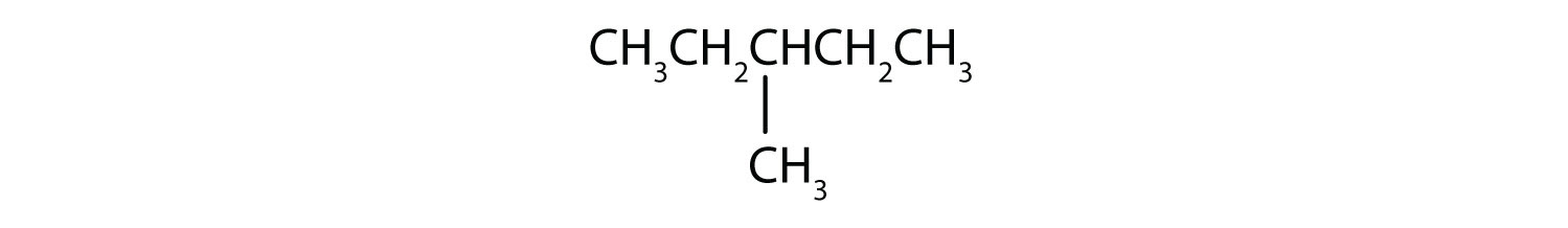 Condensed formula of 3-Methyl-pentane.