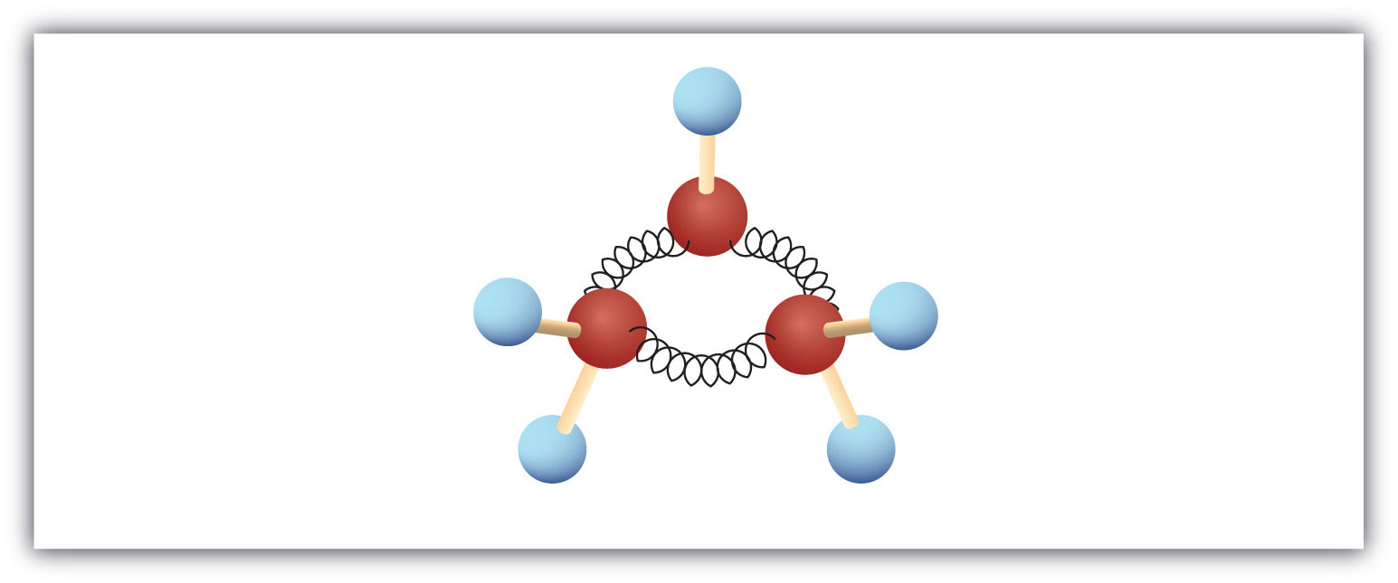 Three-dimensional diagram (ball-and-spring model) of cycloalkane cyclopropane.
