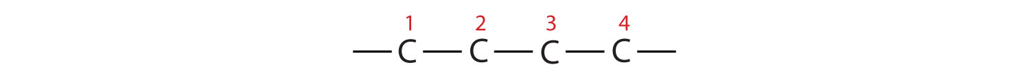 The Carbons of the parent (longest) chain are numbered. So, radical position can be indicated if applies.