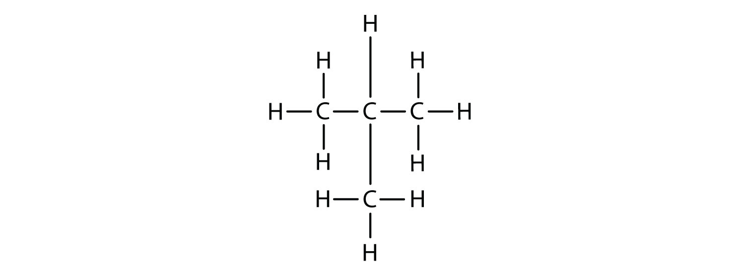 Structural formula of the 4-Carbon alkane Isobutane (Methyl-propane). This is an isomer of 4-Carbon alkane butane.