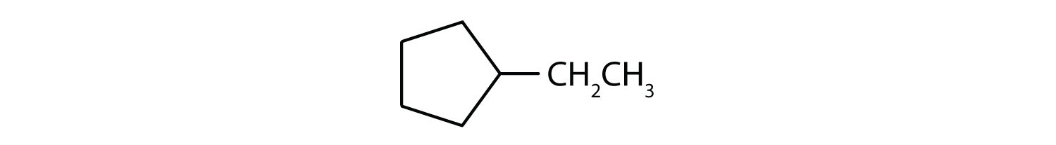 Condensed formula of 3-ethyl-cyclopentane.