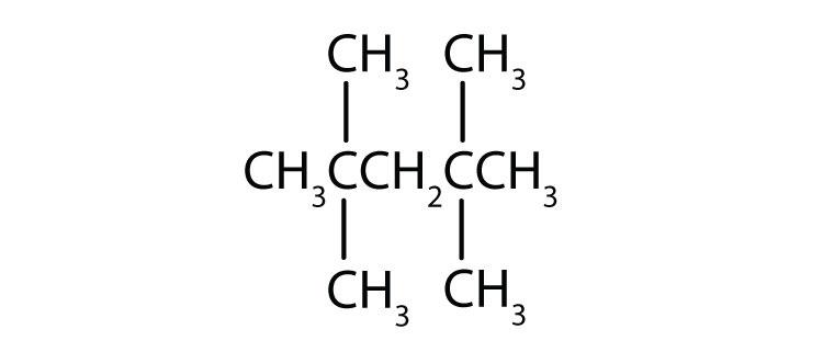 Condensed formula of 2,2,4,4-tetrahmethyl-pentane.