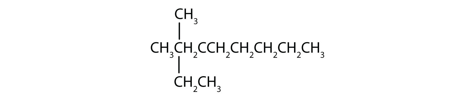 Condensed formula of 3,3-dimethyl-nonane. There is a typo mistake in the formula. The Carbon attached to both Methyl radicals should read C and the subsequent Carbon to the left should read CHE2.