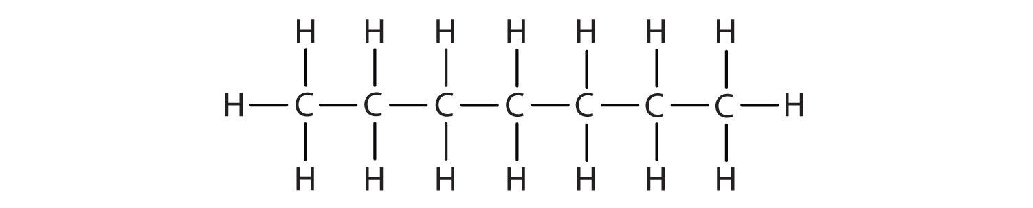 Structural formula of 7-Carbon alkane heptane.