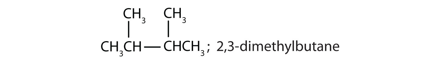Condensed formula of 2,3-dimethyl-butane; IUPAC name for this compound.