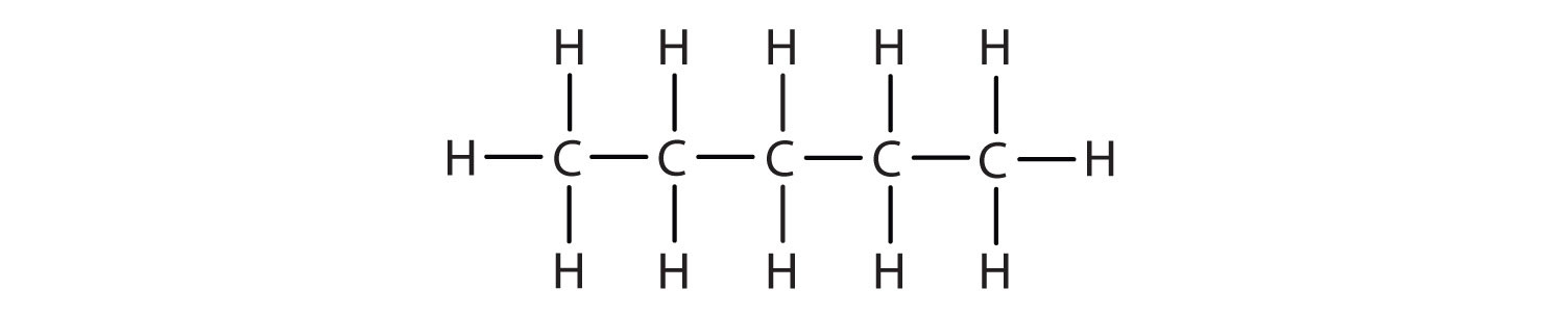 Structural formula of 5-Carbon alkane pentane.