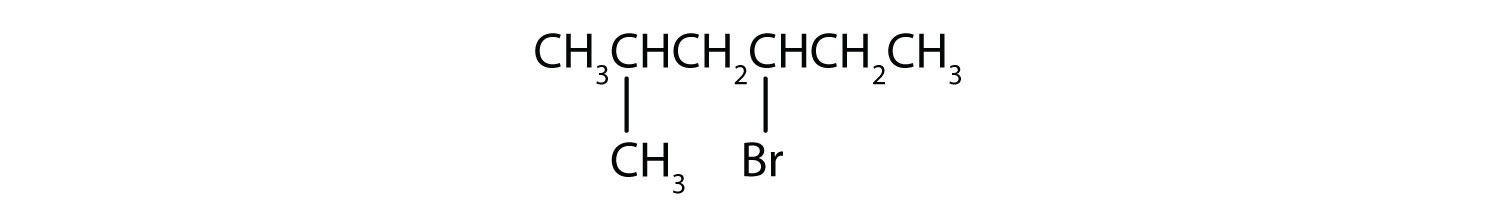 Condensed formula of 2-methyl-4-Bromohexane.