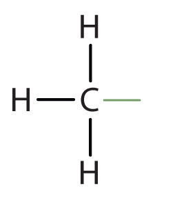 Structural formula of radical methyl.