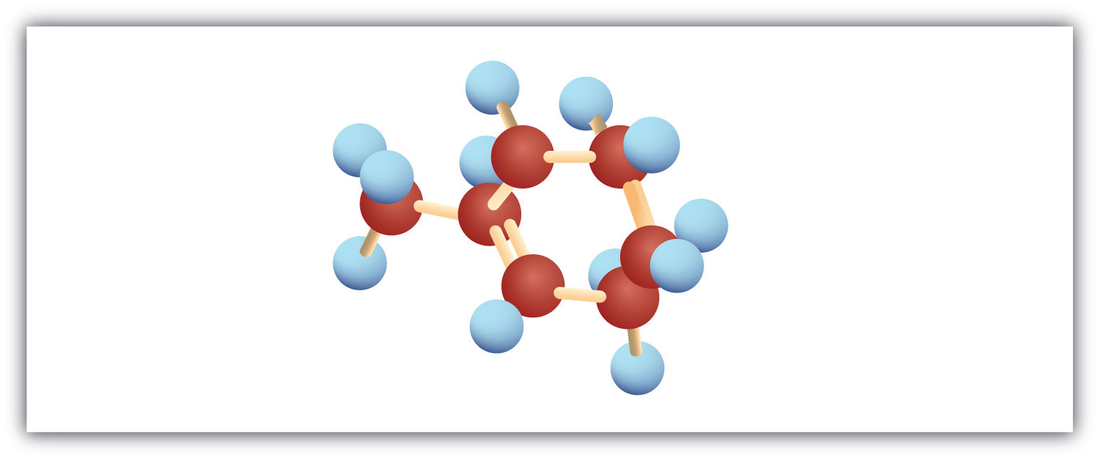 The figure represents a Ball model of 6-cyclic Carbon hydrocarbon with a double bond in Carbon 1 and a radical methyl on Carbon 1.