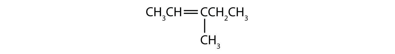 Condensed formula of a 5-Carbon hydrocarbon with a double bond on Carbon two and radical methyl attached to Carbon 3.