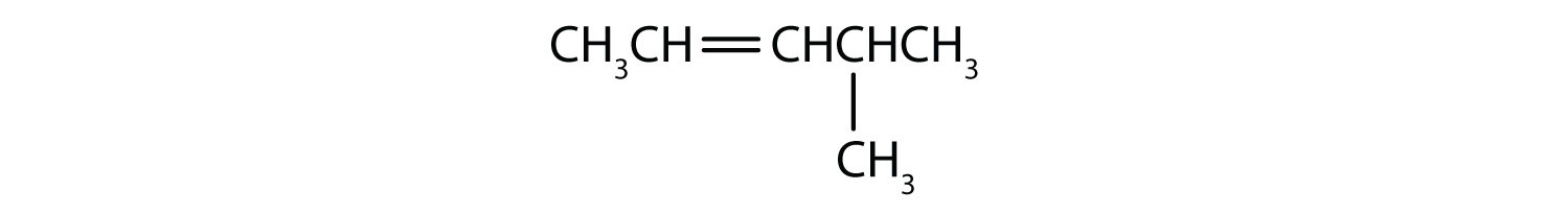 Condensed formula of 4-Methyl-2-pentene. The position of the double bond and radical are indicated in the name.