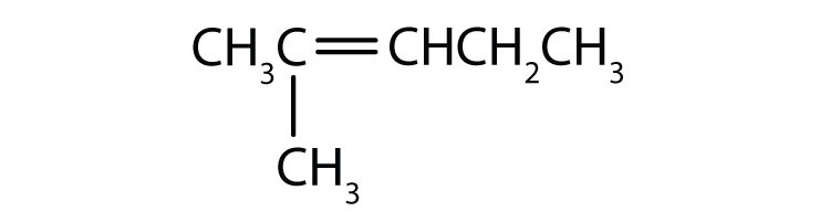 Condensed formula of 2-methyl-2-pentene. The position of the double bond and radical are indicated in the name.
