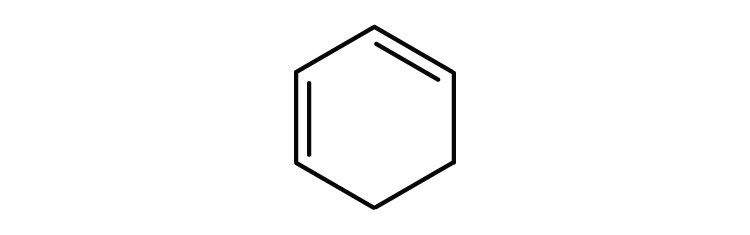 6-carbon cyclic compound with double bonds Carbon-Carbon at Carbons 1 and 3.