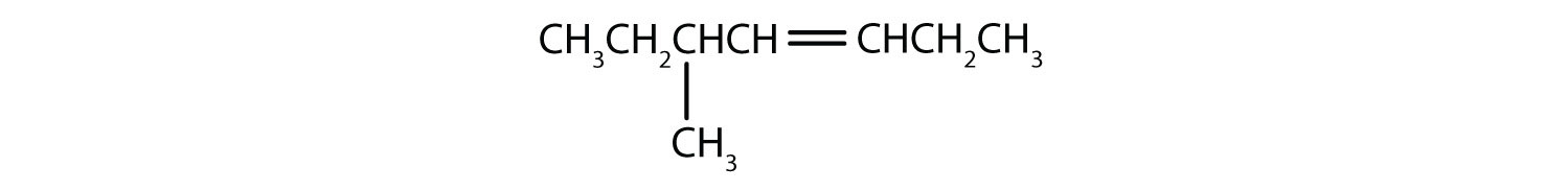 Condensed formula of 5-Methyl-3-heptene. The position of the double bond and radical are indicated in the name.