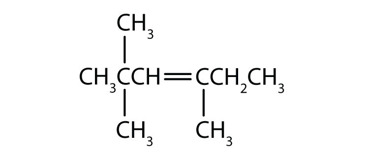 Condensed formula of 3,5,5-trimethyl-3-hexene. The position of the double bond and radical are indicated in the name.