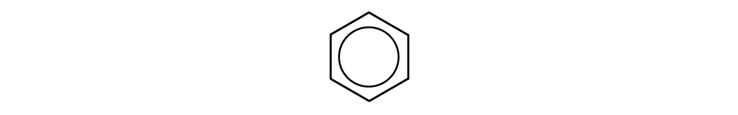 Condensed structure of benzene showing an inner circle to represent bond between Carbons. Evidence indicates all Carbons are equal as shared valence electrons from double bond are delocalized.