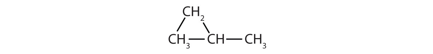 Condensed formula of a three-Carbon cyclic saturated hydrocarbon with a radical methyl.