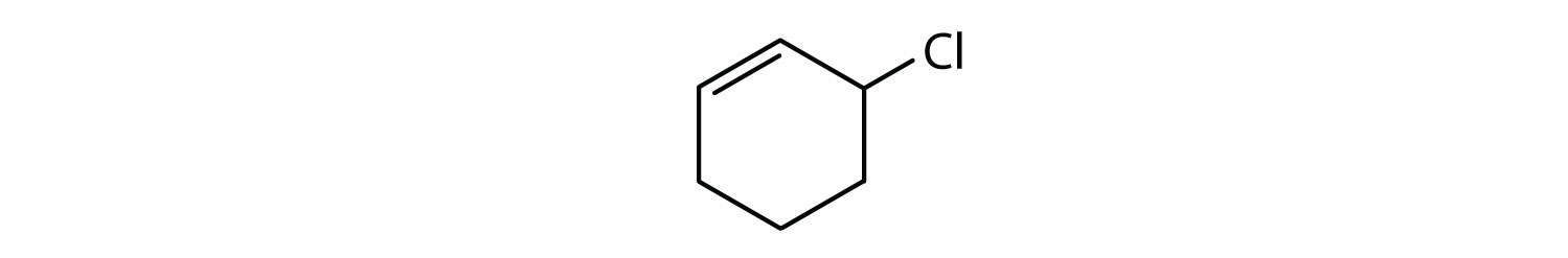 6-Carbon cyclic compound with a double bond and a Chlorine radical attached to one Carbon at the right of one of the Carbon involved in the double bond.