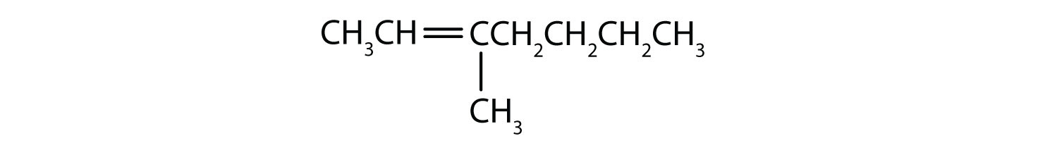 Condensed formula of 3-methyl-2-heptene. The position of the double bond and radical are indicated in the name.