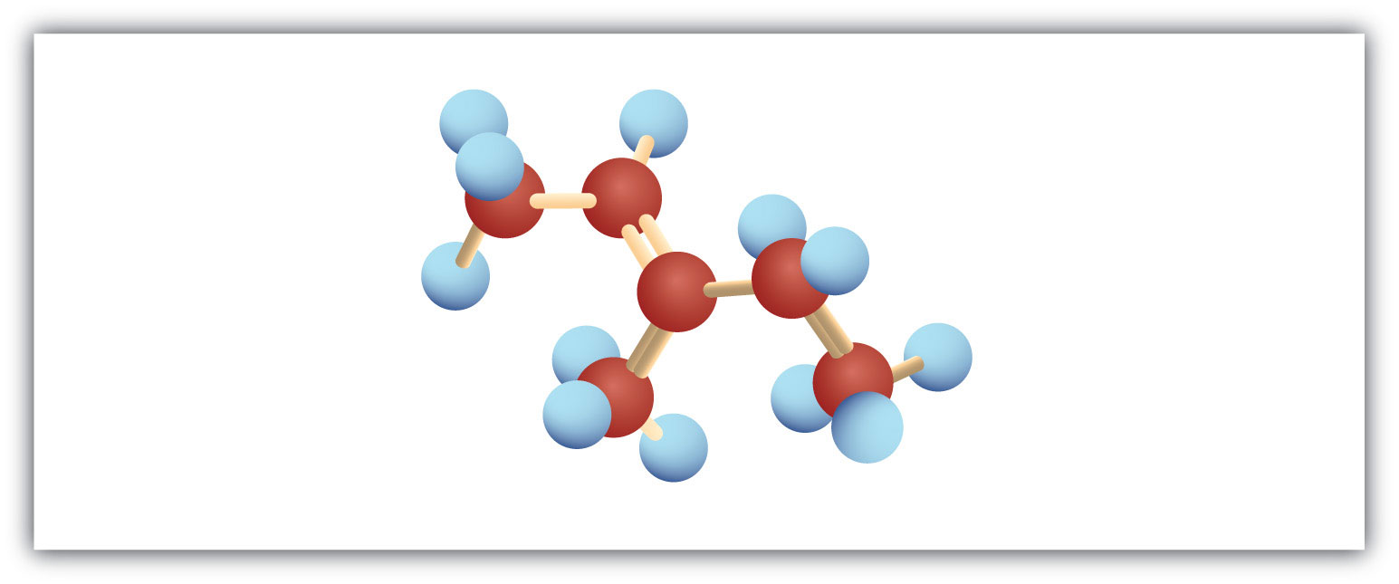 The figure represents a Ball model of 5-Carbon hydrocarbon with a double bond in Carbon 2 and radical methyl attached to methyl.