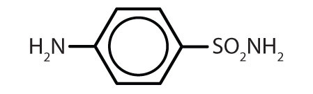 Condensed formula of organic aromatic compounds with common use: sulfanilamide.