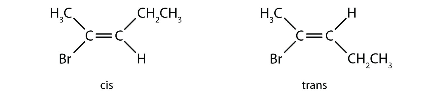Cis- and Trans- condensed formula of 2-Bromo-2-pentene.