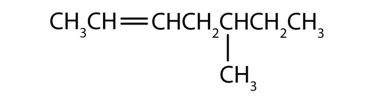 Condensed formula of 5-methyl-2-heptene. The position of the double bond and radical are indicated in the name.