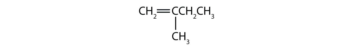 Condensed formula of 2-methyl 1-butene. The positions of the radical and the double bound are indicated in the name.