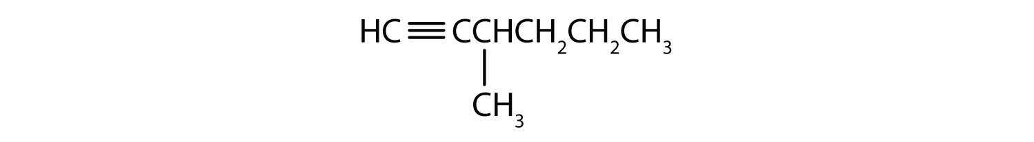 Condensed formula of 3-methyl-1-hexyne.