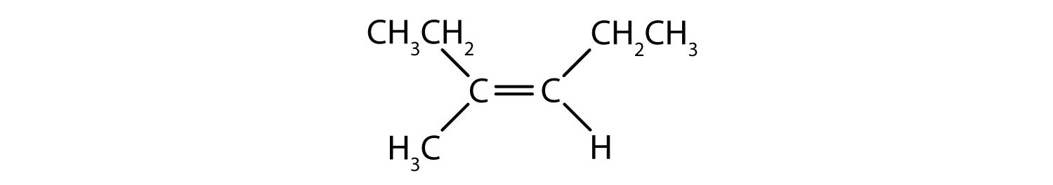 Condensed formula of 3-methyl-3-hexene.