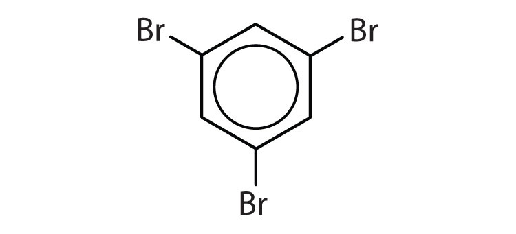 Aromatic 6-carbon cyclic compound with three radicals Bromine attached to Carbons 1, 3 and 5.