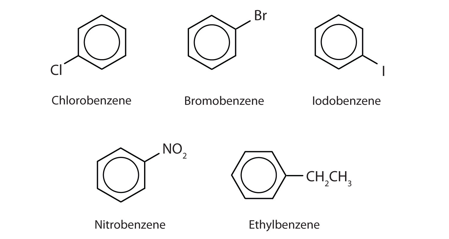 Aromatic compounds with substituents. The indicated name shows the presence of the substituent.