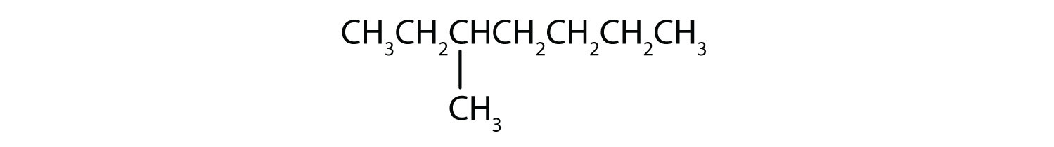 Condensed formula of 3-methyl-heptane. The position of the radical is indicated in the name.