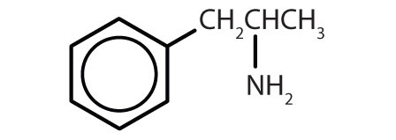 Condensed formula of organic aromatic compounds with common use: amphetamine.