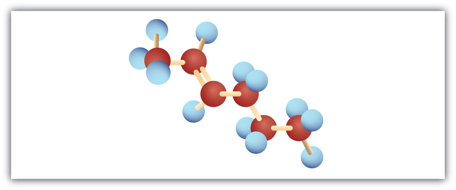 The figure represents a Ball model of 6-Carbon hydrocarbon with a double bond in Carbon 2.