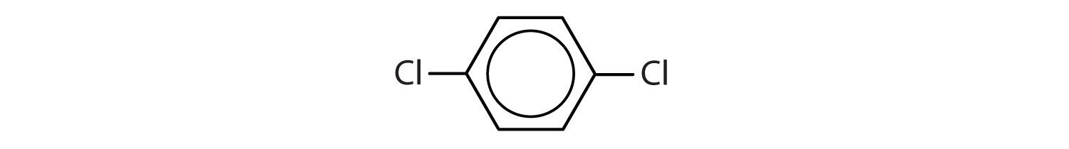 6-Carbon aromatic compound with two Chlorine radicals attached to Carbons 1 and 4.