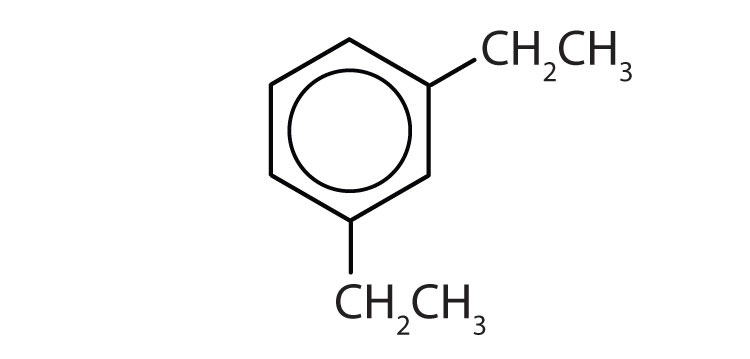 Aromatic 6-carbon cyclic compound with two radicals ethyl, one attached to Carbon 1 and the other one attached to Carbon 3.